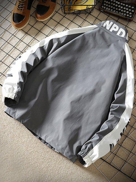 latest Letter Print Raglan Sleeve Zip Up Jacket - DARK GRAY M Mobile
