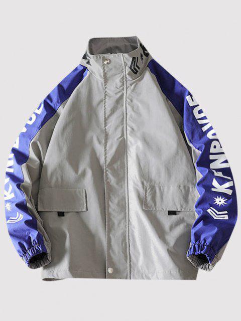 Letter Print Raglan Sleeve Zip Up Jacket - رمادي فاتح M Mobile