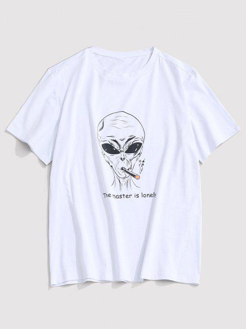 shop ZAFUL Letter Cartoon Pattern T-shirt - WHITE 2XL Mobile