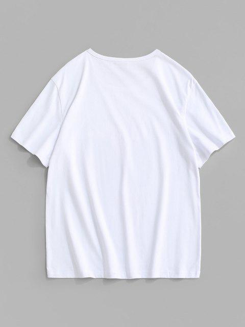Camiseta con Estampado de Mariposa California con Mangas Cortas - Blanco M Mobile