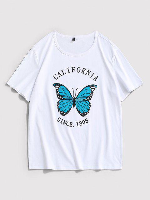 fancy California Butterfly Print Short Sleeve T-shirt - WHITE XL Mobile