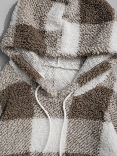 Sweat à Capuche Fourré Motif à Carreaux - Blanc XL Mobile