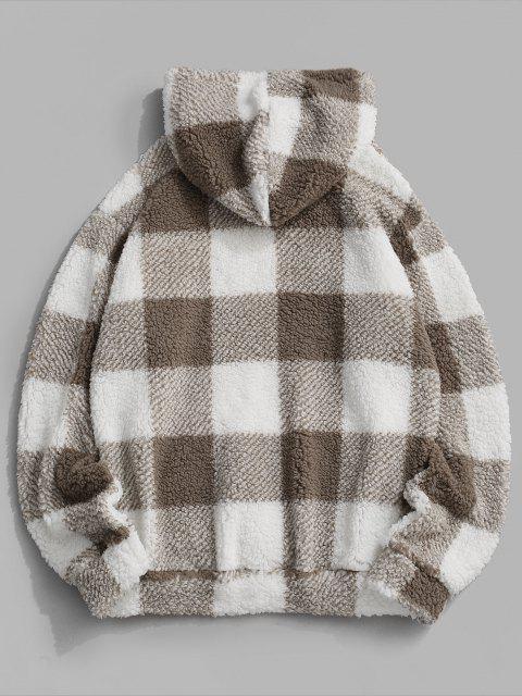fashion Fluffy Plaid Pattern Hoodie - WHITE 2XL Mobile
