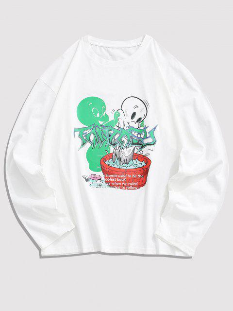 Long Sleeve Cartoon Graphic T Shirt - أبيض M Mobile