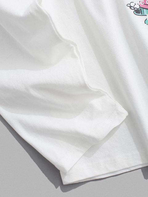 Camiseta Manga Larga Estampado Caricatura - Blanco M Mobile
