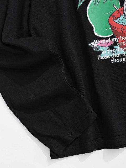 Camiseta Manga Larga Estampado Caricatura - Negro XS Mobile