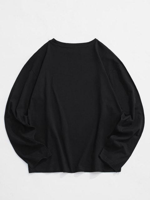 lady Long Sleeve Cartoon Graphic T Shirt - BLACK M Mobile
