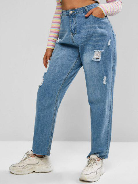 hot Plus Size Ripped Raw Hem Light Wash Jeans - BLUE L Mobile