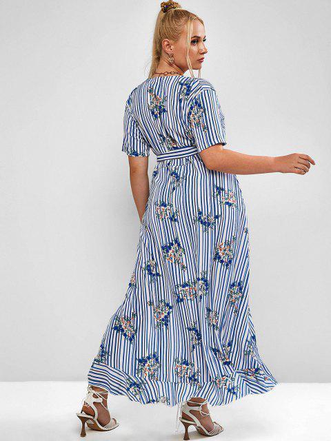 Robe Ceinturée Fleur Rayée Superposée de Grande Taille à Volants - Bleu Koi 3XL Mobile