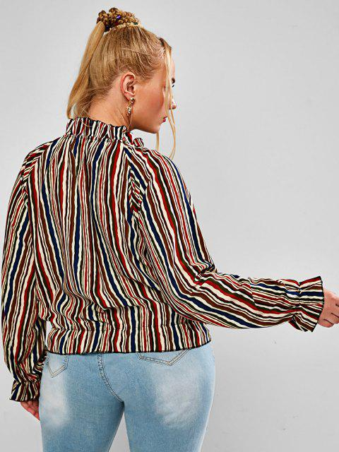 affordable Plus Size Striped Ruffled Cuff Tied Pullover Blouse - MULTI XL Mobile