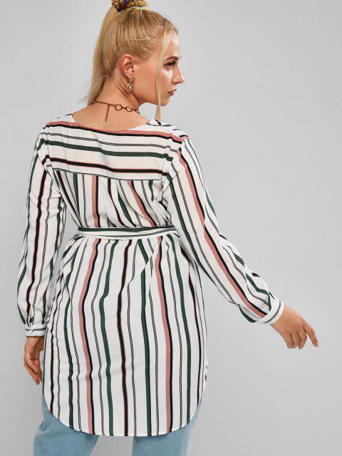 women Plus Size Striped High Low Belted Round Hem Blouse - MULTI 2XL Mobile