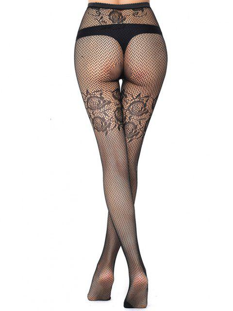 Jacquard See Thru Stretch Fishnet Tights - Noite  Mobile