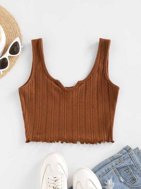 ZAFUL Lettuce Trim Notched Knitted Crop Top - قهوة L Mobile