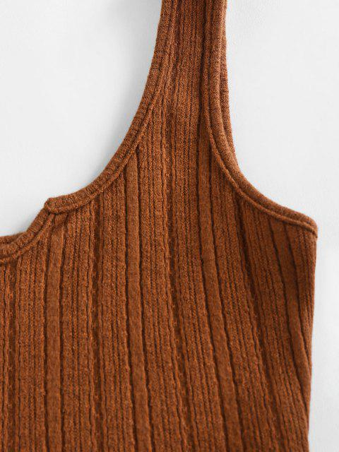 fancy ZAFUL Lettuce Trim Notched Knitted Crop Top - COFFEE M Mobile