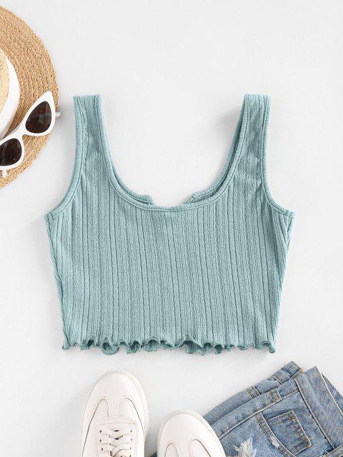 ZAFUL Lettuce Trim Notched Knitted Crop Top - أزرق فاتح L Mobile