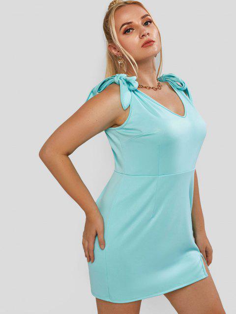 ZAFUL Übergröße Gebundenes Schulter Schlitz Glitter Kleid - Hellgrün 3XL Mobile