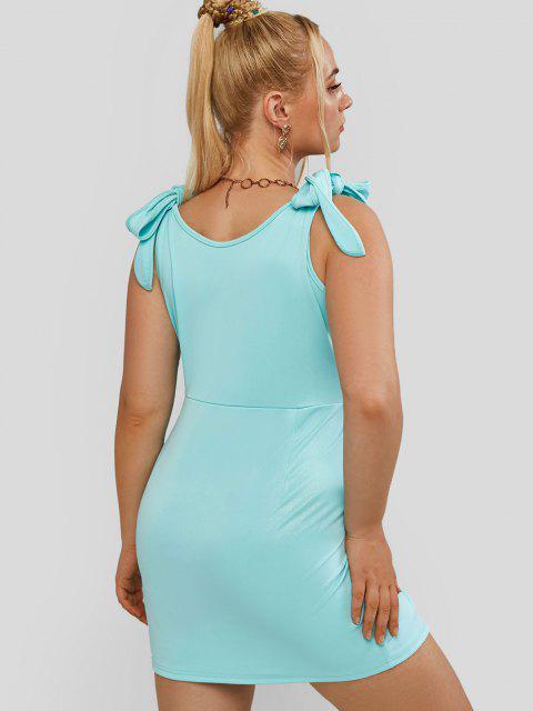 women's ZAFUL Plus Size Tie Shoulder Slit Glitter Dress - LIGHT GREEN 5XL Mobile
