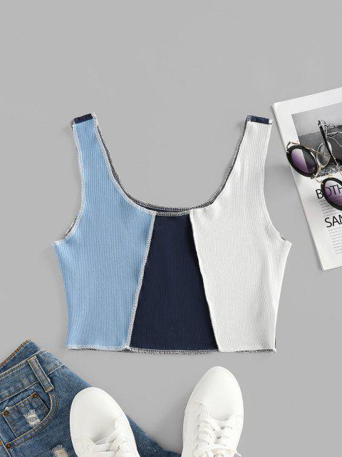 ZAFUL Colorblock Topstitching Crop Tank Top - أزرق فاتح XL Mobile