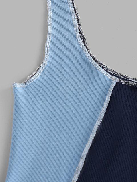 ZAFUL Débardeur Court Cousu en Blocs de Couleurs - Bleu clair L Mobile