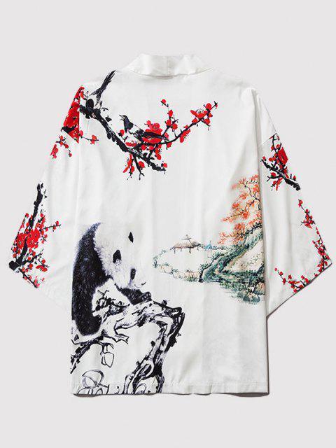 Cardigan Kimono Fleur Panda Peinture Imprimés Ouvert en Avant - Blanc Lait L Mobile