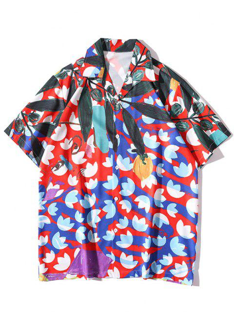 Flower Leaves Art Print Button Up Shirt - أحمر L Mobile