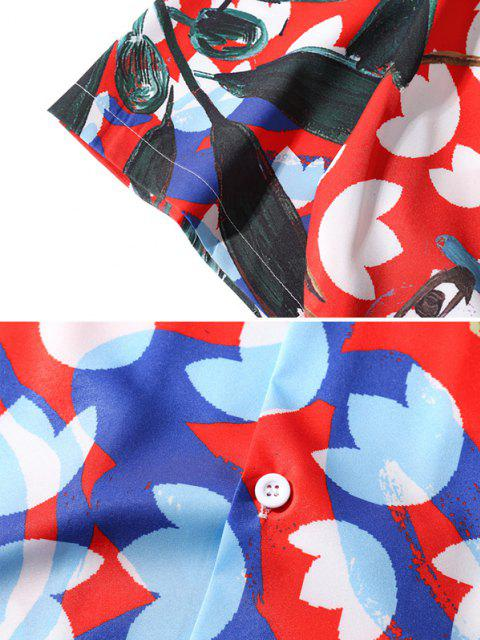 women Flower Leaves Art Print Button Up Shirt - RED L Mobile