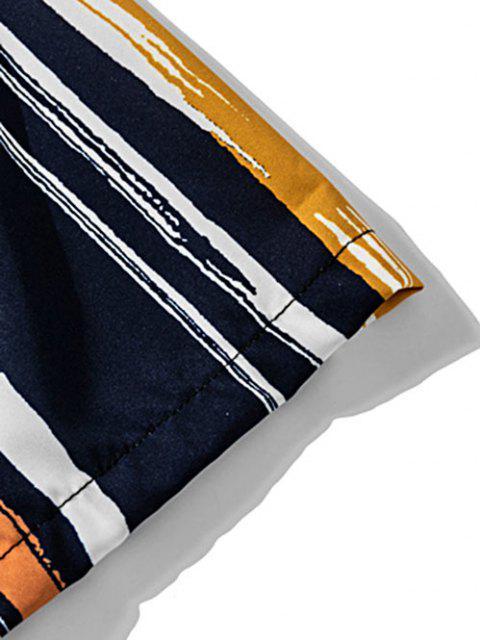 Buntes Streifen Druck Knopf Hemd - Karamell XL Mobile
