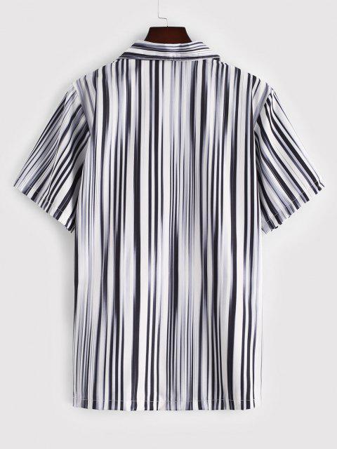 womens Short Sleeve Striped Shirt - BLACK XL Mobile