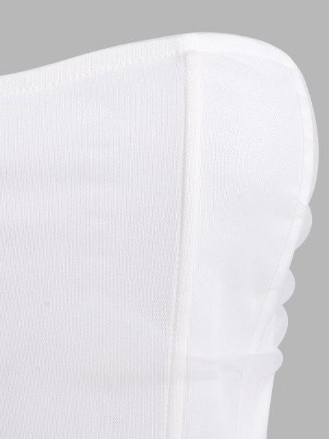 Haut Corset sans Bretelles à Superposition en Maille - Blanc L Mobile