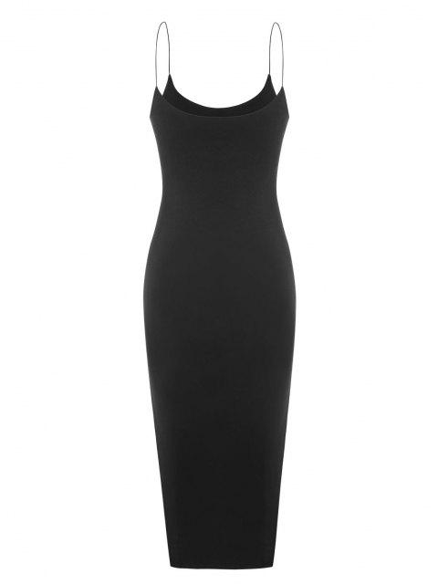 women's Bungee Strap Slit Midi Dress - BLACK S Mobile