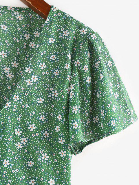 trendy ZAFUL Flower Butterfly Sleeve Plunging Peplum Blouse - LIGHT GREEN L Mobile