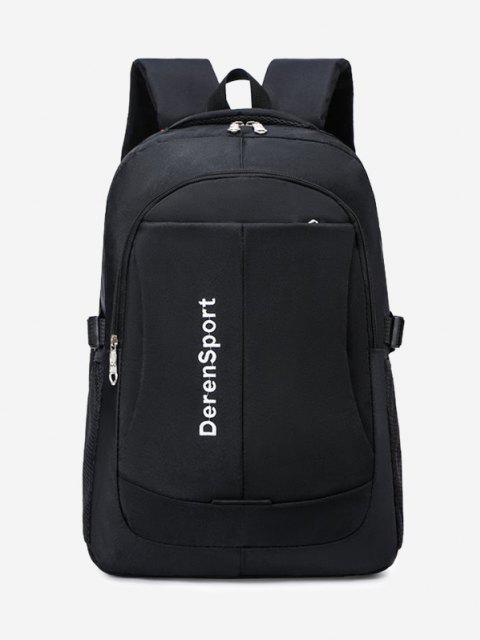 latest Contrast Letter Pattern Sports Backpack - BLACK  Mobile