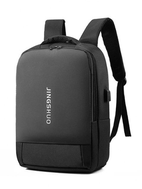 affordable Letter Print Laptop Brief Backpack - BLACK  Mobile