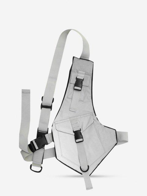 shop Irregular Buckles Reflective Chest Bag - GRAY  Mobile
