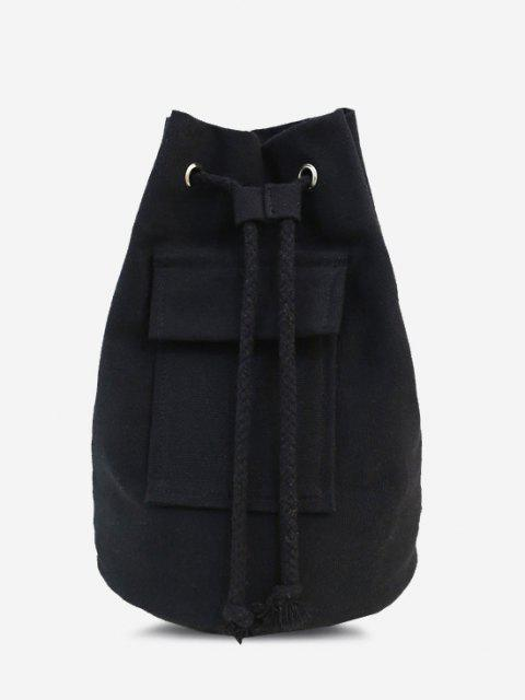 shops Canvas Unisex Drawstring Chest Bag - BLACK  Mobile