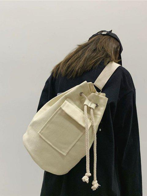 latest Canvas Unisex Drawstring Chest Bag - WHITE  Mobile