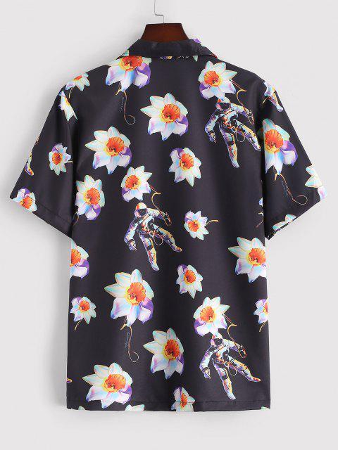 Kurzärmliges Hemd mit Blumen Astronaut Muster - Schwarz XL Mobile