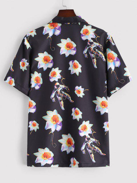 fancy Flower Astronaut Print Short Sleeve Shirt - BLACK M Mobile