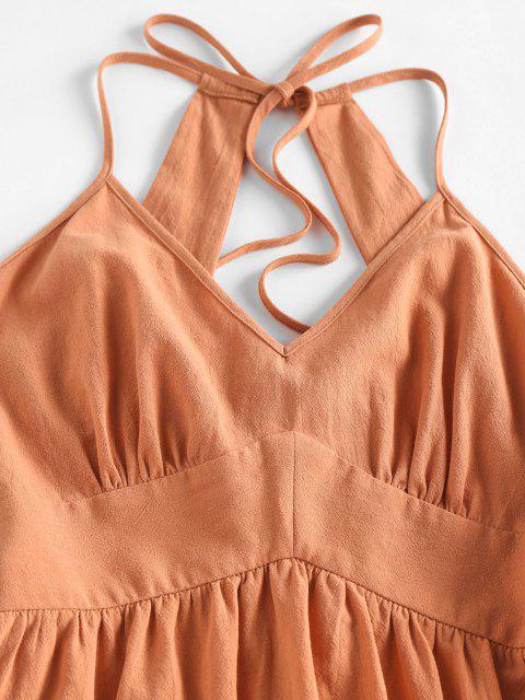 sale ZAFUL Open Back Empire Waist Tiered Dress - ORANGE M Mobile