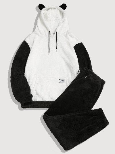 ZAFUL Letter Applique Faux Fur Fluffy Hoodie And Pants Set - Black S
