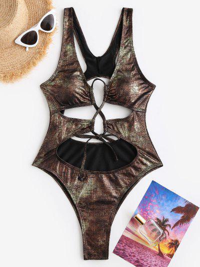 ZAFUL Glitter Cutout Disco Underboob Racerback One-piece Swimsui - Bronze S