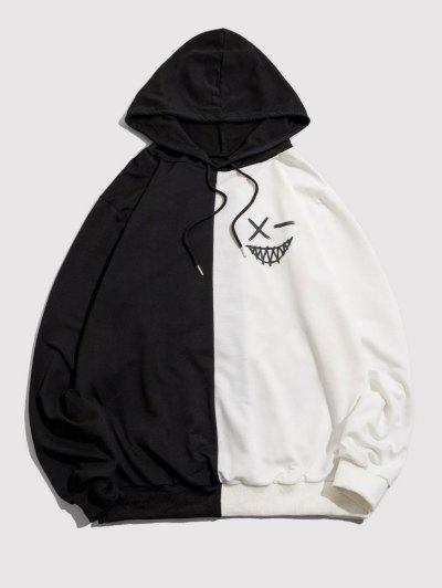 ZAFUL Cartoon Print Contrast Drawstring Hoodie - Black S