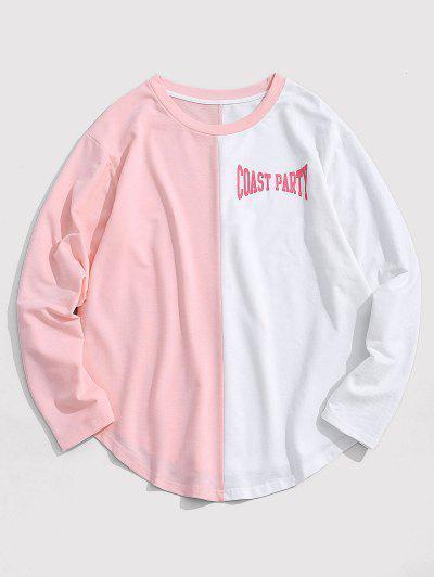 ZAFUL Letter Print Curved Hem Two Tone T-shirt - Light Pink 2xl