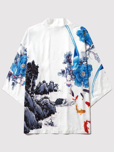 Flower Mountain Paint Print Chinoiserie Kimono Cardigan - Milk White L