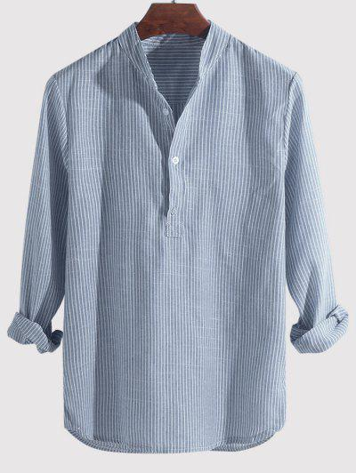 Striped Print Half Button Kurta Long Sleeve Shirt - Sky Blue M