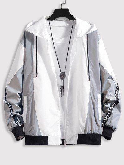 Hooded Letter Tape Contrast Jacket - Gray Xl