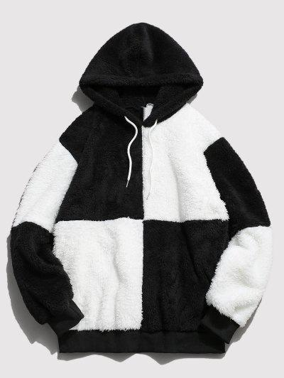ZAFUL Drawstring Contrast Faux Fur Fluffy Hoodie - White S