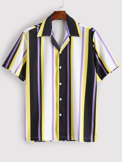 Chemise Rayée Colorée Imprimée à Manches Courtes - Jaune Xl
