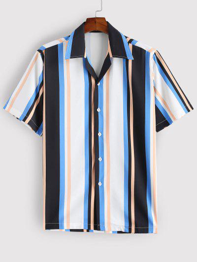 Striped Colorful Printed Short Sleeves Shirt - Blue M
