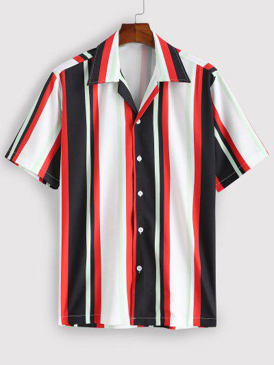 Striped Colorful Printed Short Sleeves Shirt - Red M